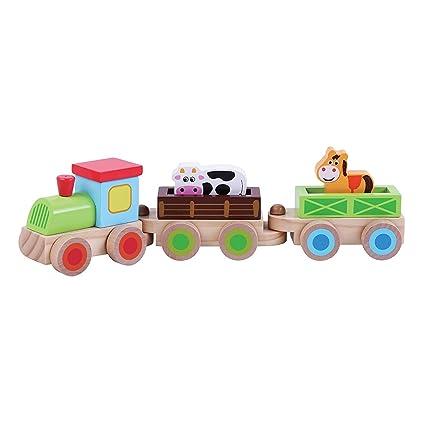 Jumini - Tren de madera para niños con animales: Amazon.es: Bebé