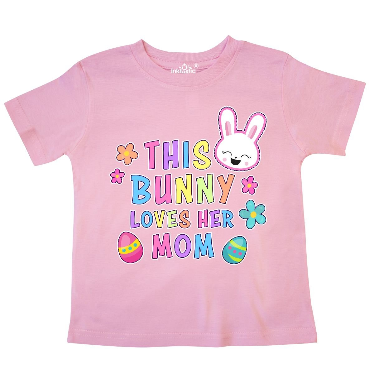 inktastic This Bunny Loves Her Mom with Bunny Face and Flowers Toddler T-Shirt