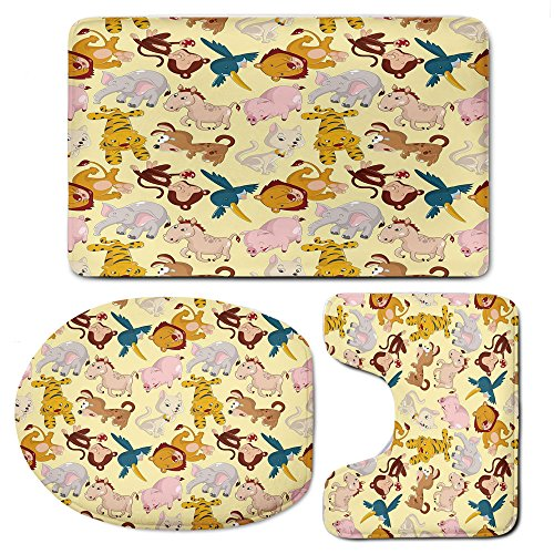 3-Piece Bathroom Set Bath Mat Rug Lid Toilet Covers Toilet Seat Cushion,NurseryNon-Slip Rubber Backing,Cartoon Animals Jungle Themed Design Monkey Pig Tiger Elephant Lion Horse Sparrow Decorative