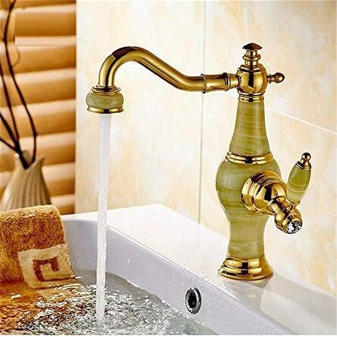 Wasserhahn Chrom Messing Retro Messing Jade Körper 360 Grad Swivel Bad Becken Wasserhahn Deck Berg Arbeitsplatte Wassermischbatterie