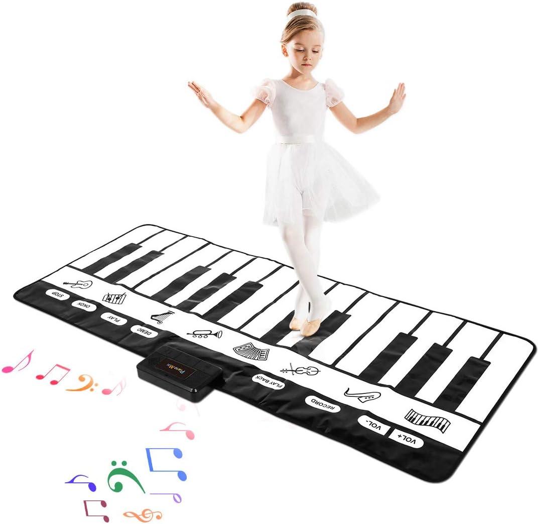 "M SANMERSEN Kids Piano Mat, 70.47"" x 28.34"" Keyboard Play Mat 24 Keys Touch Play Musical Dance Mat with 10 Demos/ 8 Instruments/ Record & Playback/ Dancing Mat for Kids Boys Girls"