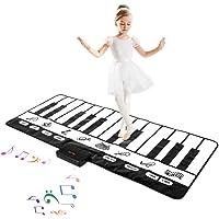 M SANMERSEN Kids Music Mat, Keyboard Play Mat 24 Keys Musical Dance Mat with 10 Demos/ 8 Instruments/ Record & Playback…