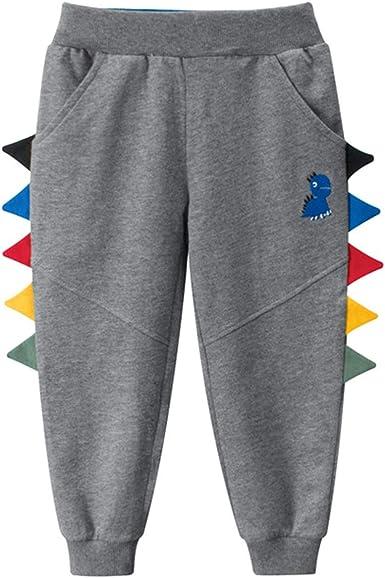 2PCS Kids Boy Girl Cartoon Print Dinosaur Pants Drawstring Elastic Sweatpants