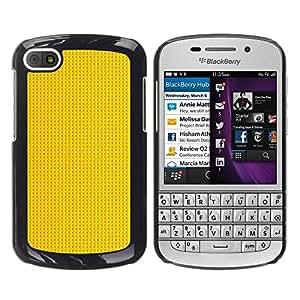 FECELL CITY // Duro Aluminio Pegatina PC Caso decorativo Funda Carcasa de Protección para BlackBerry Q10 // Gold Pattern Black Dots