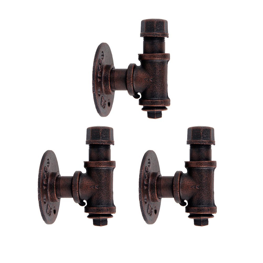 GoYonder Industrial Towel Hook Rack Iron Pipe Hanger (Mounting Hardware Included) (Bronze Finish - 3 Pack) by GoYonder