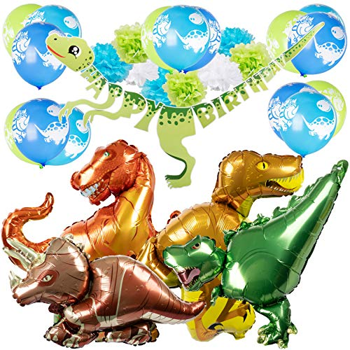Dinosaur Happy Birthday Decorations for Kids: Jurassic World Party Supplies Pack with Banner, Balloons and Pom Poms