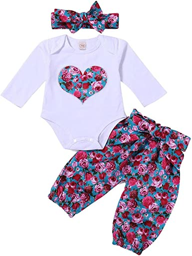 Bebé Mono, ASHOP Recién Nacido Bebé Baratas Mono Niña Amor Impresión Romper Manga Larga Bodies Ropa Casual Jumpsuit +1PC Pantalones + 1PC Diadema, ...