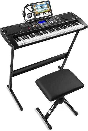 Max KB1 Premium - Teclado electrónico piano para principiantes, con soporte para teclado, banco acolchado y auriculares de audio, 61 teclas, ideal ...