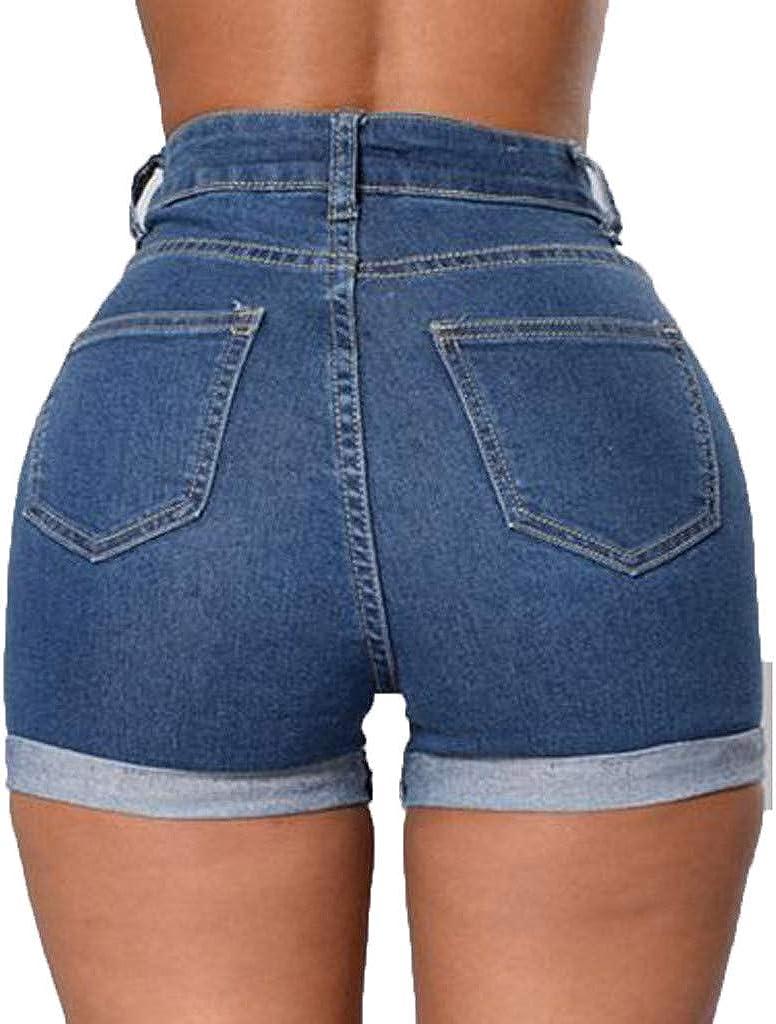 FRAUIT Pantaloncini Donna Jeans Stretti Shorts Ragazza Denim Push Up Pantaloni Corti Donne Jeans Vita Alta Pantaloncino Pantalone Estivo Elegante Spiaggia Mare