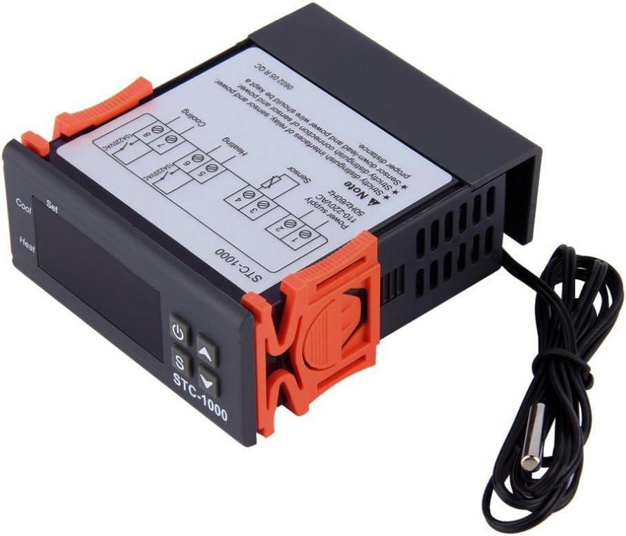 Controlador de temperatura multifuncional Huatuo STC-1000 220V Calibración del termostato Fahrenheit y pantalla centígrada + Sonda del sensor