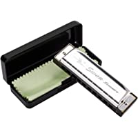 HusDow Blues Harmonica, 10 Hole Harmonicas Key of C for Beginners with Protective Bag and Cleaning Cloth