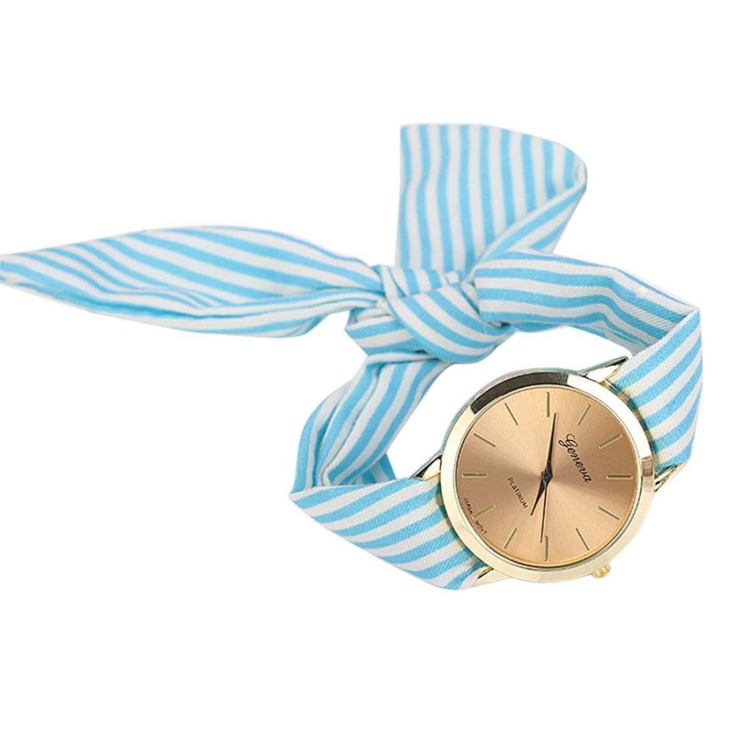 Leyorie Women Stripe Floral Cloth Quartz Dial Bracelet Wristwatch Bow Tie Watch Girls Bangle Fashion (Blue)