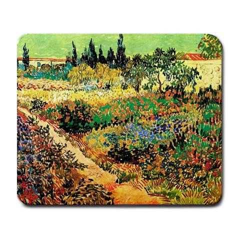 (Flowering Garden with Path By Vincent Van Gogh Mouse Pad)