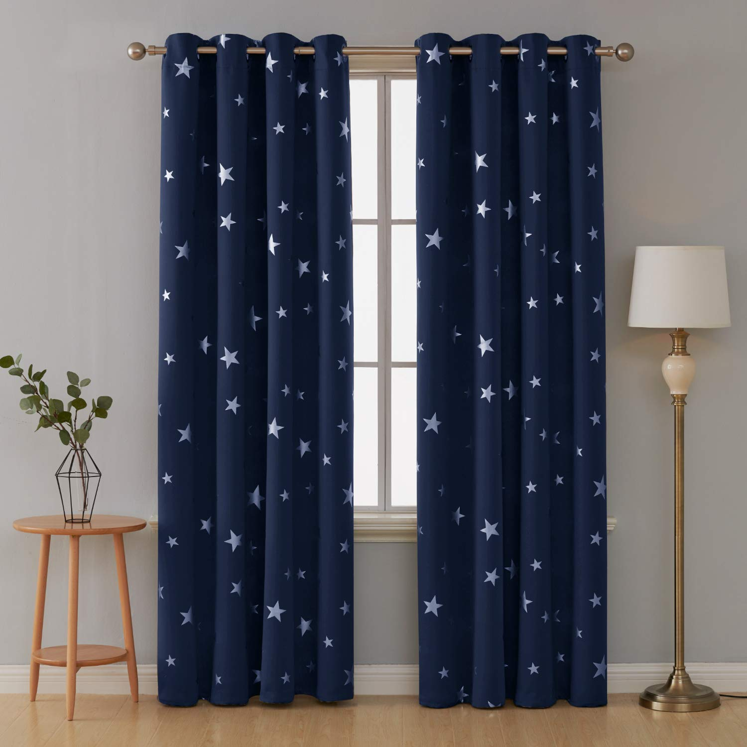Deconovo Solid Grommet Curtains Window Blackout Curtains Silver Star Print Blackout Drapes for Infant Room 42x63 Inch Dark Grey 2 Panels
