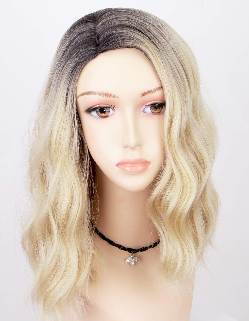 Amazon Com Persephone 2020 Ombre Blonde Bob Wig Synthetic Fiber Short Wavy Wigs For Women Glueless 2 Tones 613 Hair Replacement Wigs With Brown Roots Heat Resistant Beauty