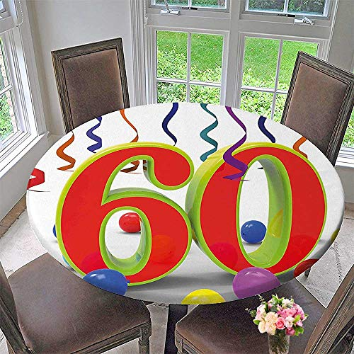 Simple Modern Round Table Cloth Decorations Party Confetti Swirls with Baloons and Green Orange 60 Number Multicolor for Daily use, Wedding, Restaurant 43.5
