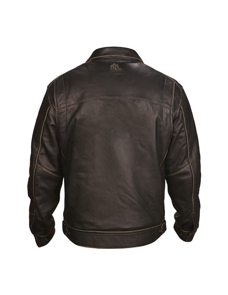 STS Ranchwear Mens Modern Bomber Style Leather Jacket brown Small