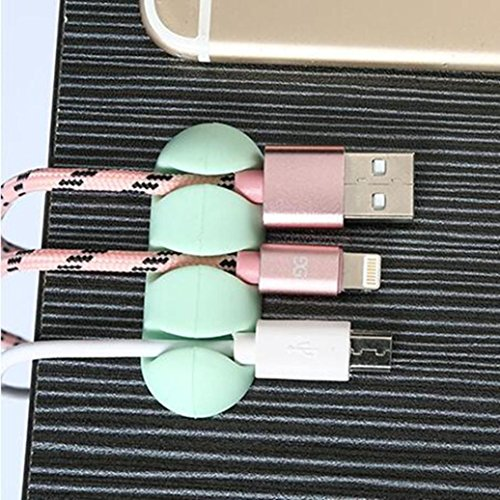 Securing clip, Yezijin 2 Pcs Headphone Headset Wire Wrap Cord Winder Organizer Cable Collector Silica (Green) from Yezijin