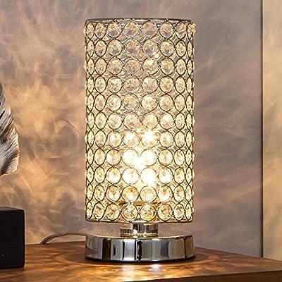IKEBANA Modern Style Metal Base Chrome Finish Crystal Table Lamp, Silver Bedside Table Lamp