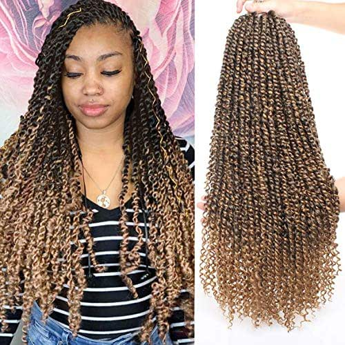 Xtrend 6packs 22inch Pre-looped Passion Twist Crochet Hair 15strands/pack Ombre Passion Twist Braiding Hair Extensions for Black Women (6packs, 1B/27#)