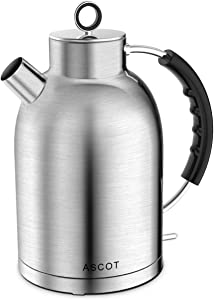 ASCOT Electric Kettle Stainless Steel, 1.7 Liter, BPA-Free, Electric Tea Kettles for Boiling Water, 1500W Fast Hot Water Boiler, Automatic Shut-Off, Cordless Electronic Water Heater - Matte Silver