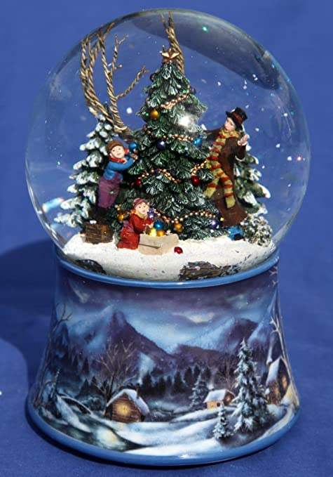 Musical Snow Globe With Family Decorating The Xmas Tree Amazonco