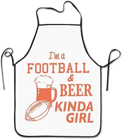 I m un Fútbol y cerveza Kinda Girl delantales Chef delantales de cocina personalizada azul Delantal: Amazon.es: Hogar