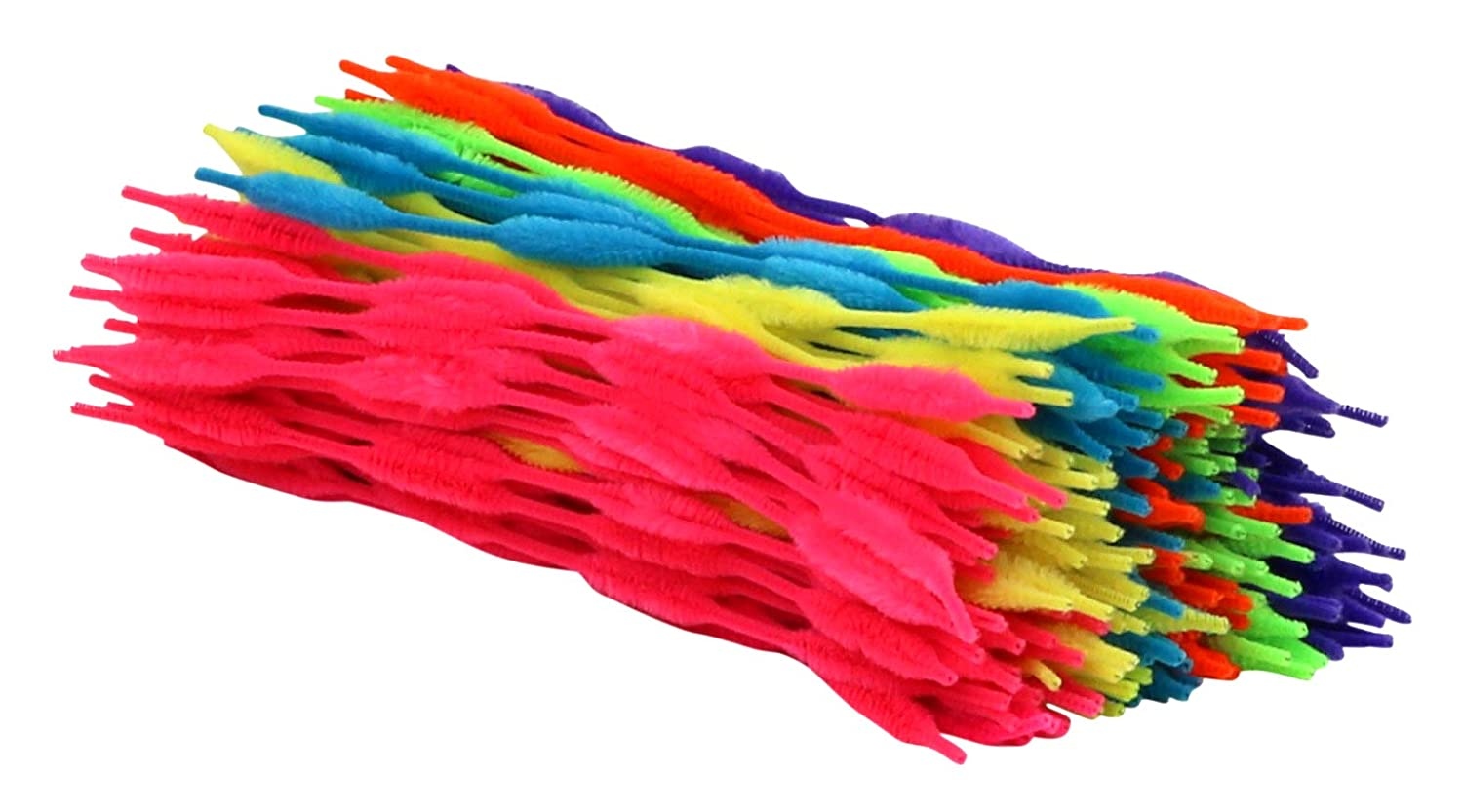 200-Count Bright Colors Assortment Iconikal Pipe Cleaners Craft Chenille Stems with Bumps