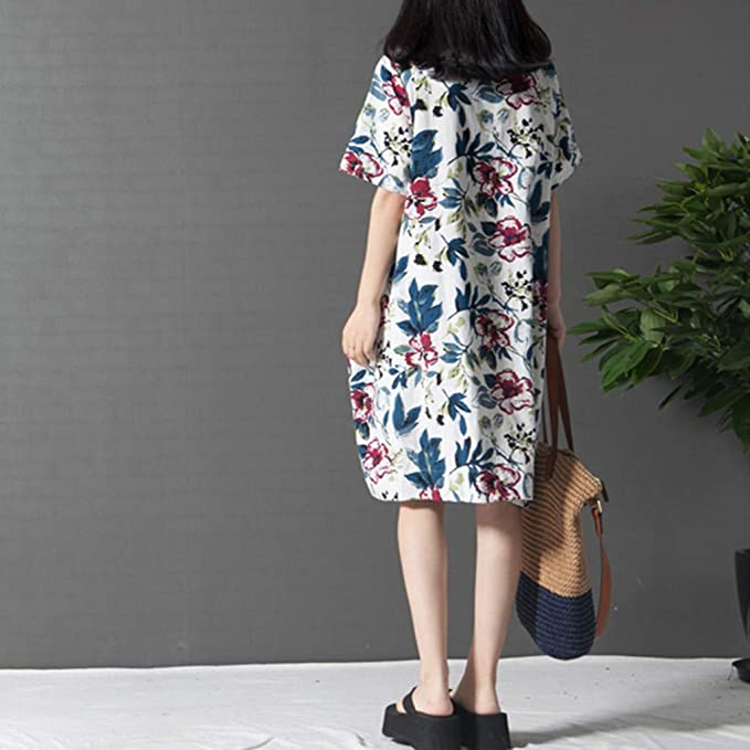 KIKOY Womens Casual Short Sleeve O-Neck Floral Print Cotton Dress with Pockets