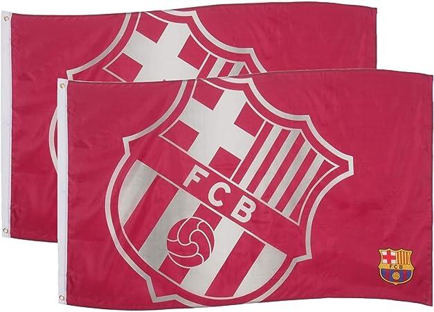 FCB FC Barcelona - Bandera Oficial - 150 x 90 cm - Rojo - Escudo - Pack de 2: Amazon.es: Deportes y aire libre
