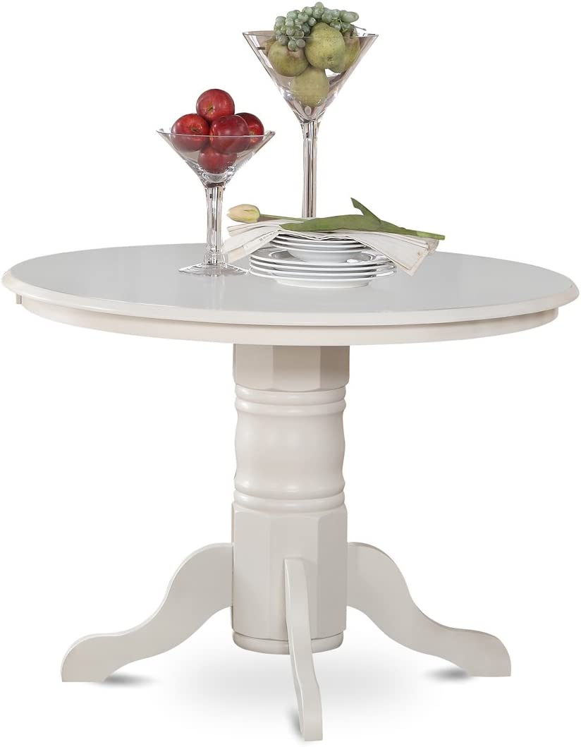 East West Furniture Round Kitchen Table, 42-Inch, Linen White Finish