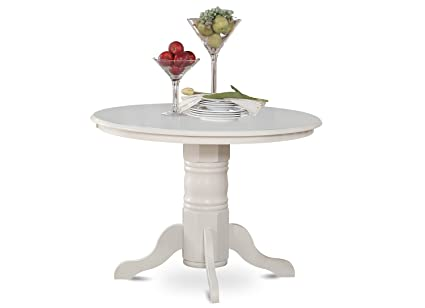East West Furniture SHT WHI TP Round Kitchen Table 42 Inch Linen White Finish