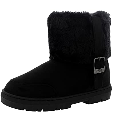 Womens Side Buckle Ankle Pull On Flat Winter Shoe Boots