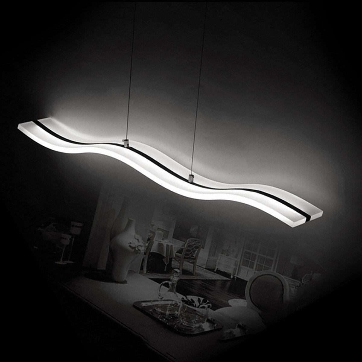 KJLARS Pendelleuchte Moderne Pendellampe LED Acryl Kühlweiß Hängelampe Hängeleuchte Esstisch Wohnnzimmer Schlafzimmer 6000K (Weiß)