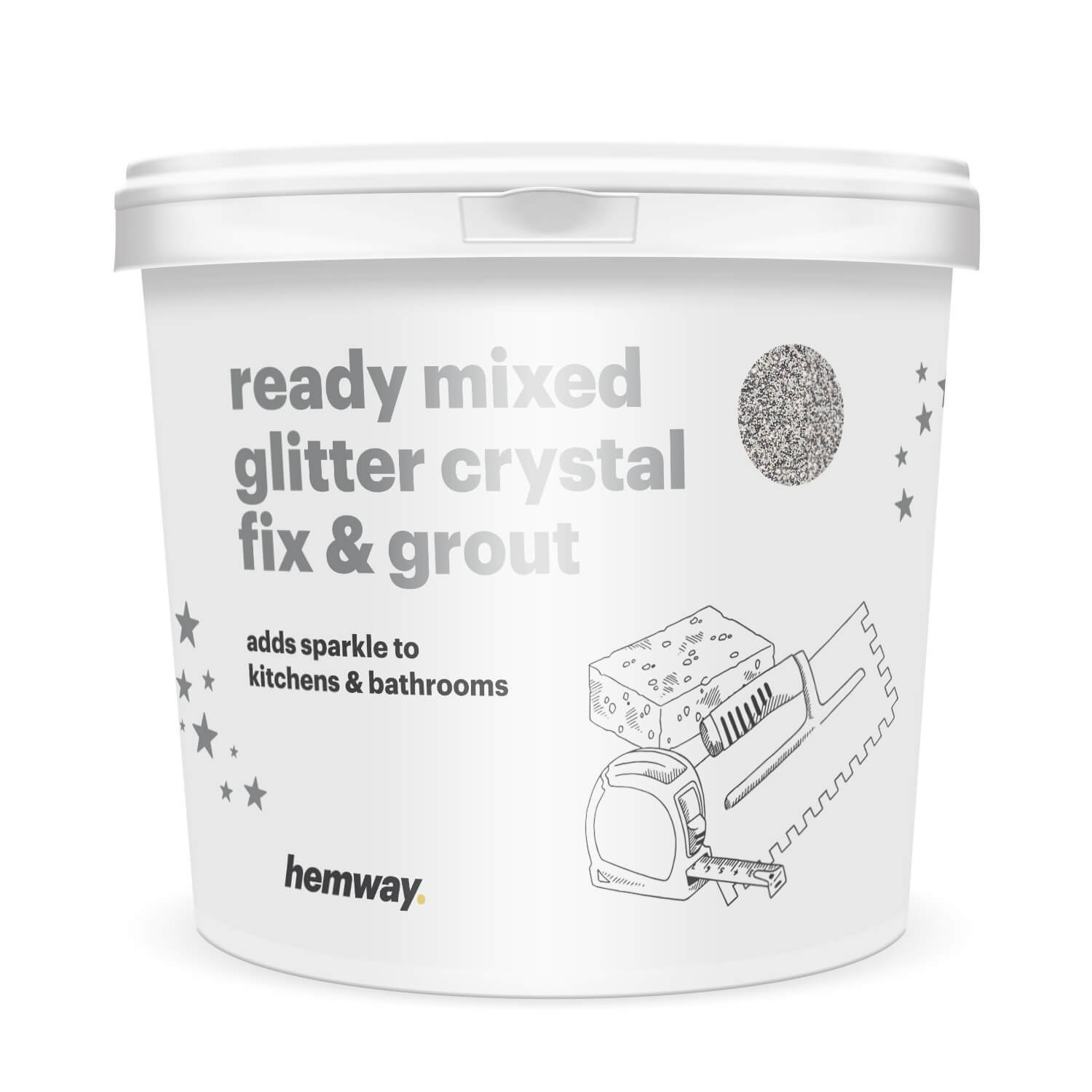 Hemway 4.5kg / 10lb Ready Mixed Glitter Crystal Fix & Grout (Grey Grout / Silver Glitter) for Tiles, Wet Room, Bathroom, Kitchen - Easy to use - High Heat Resistant for Underfloor Heating