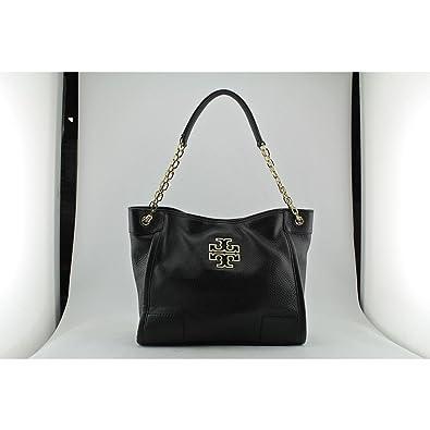 08e4b356866 Amazon.com  Tory Burch Small Britten Leather Tote Black Handbag New  Shoes