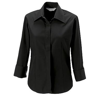 7d9080006 RUSSELL Women's Three Quarter Sleeve Work Shirt (Sizes 8-22) Eco Friendly  Formal