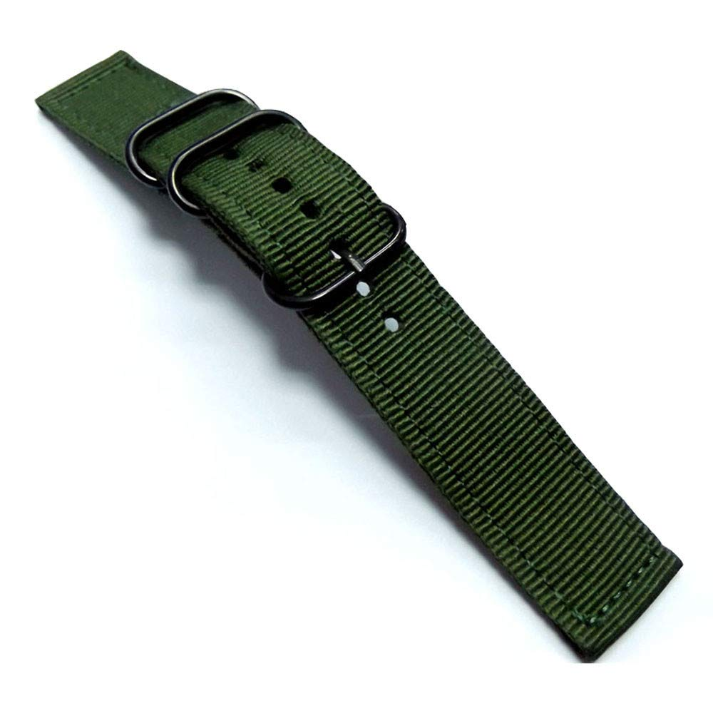 XBKPLO NATO Green Strap Canvas Nylon 20MM Wrist Watch Band Strap Black,Silver Button