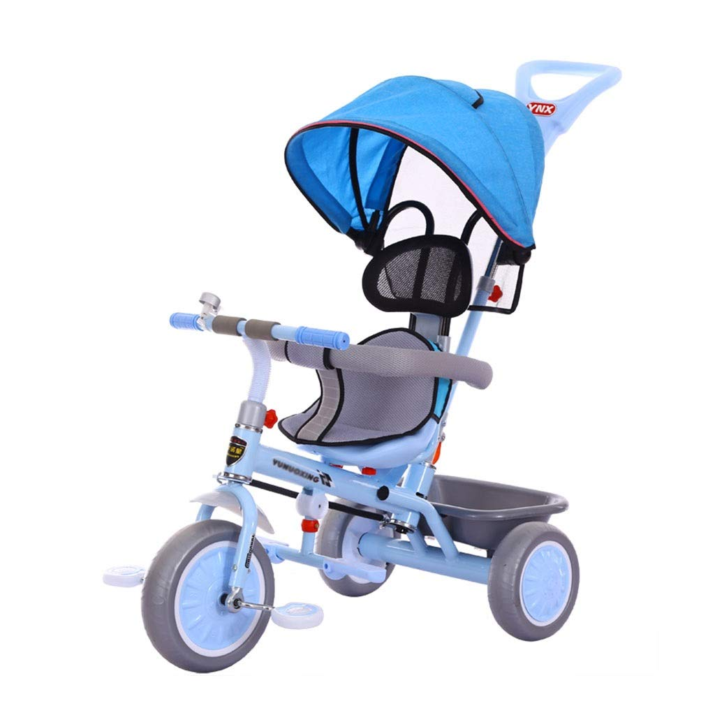 Xing Hua Shop Stroller Toys Children's Tricycle Bicycle 1-6 Year Old Children's Bicycle Walker with Awning Trolley with Storage Basket 3 Wheel Bike (Color : Blue, Size : 478692cm)