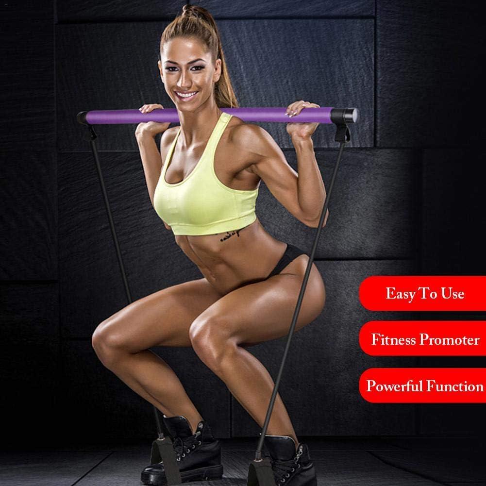Tragbares Pilates Bar Kit mit Widerstandsband Langes Widerstandsband Yoga Pilates Stick mit Fu/ßschlaufe f/ür Yoga Pilates Ballett Physiotherapie Bodybuilding Training /& Fitness Workouts