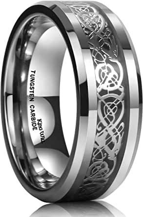 King Will DRAGON Men Tungsten Carbide Ring Wedding Band 8mm Silver Celtic Dragon Inlay Polish Finish