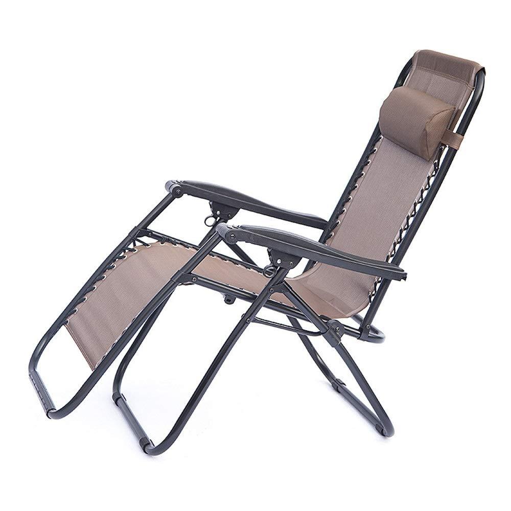 折りたたみ椅子 純粋な茶色のシンプルなデザイン屋外屋内調節可能な無重力折りたたみ椅子リクライニングラウンジャーチェアヘビーデューティヘッドレスト枕人間工学に基づいた滑り止め滑り止めフットレストパティオラウンジリクライニングチェア長椅子ビーチプールサイド屋外ヤード (色 : 褐色, サイズ : 177*68*113CM) 177*68*113CM 褐色 B07PQHV7N2