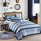 Best Comforter Set 2 Pieces Bedding Set Blue Striped Sailing Boat Bedspreads Quilts Set for Boys Kids Children Cotton Twin