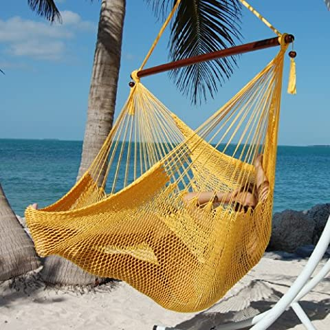 OVERSTOCK SALE Large Caribbean Hammock Chair with Footrest - 48 Inch - Polyester - Hanging Chair - (Yellow Room Chairs)