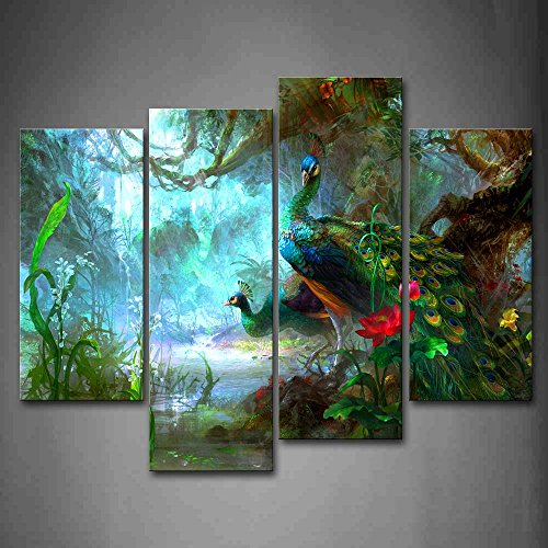 Two Peacocks Walk In Forest Beautiful Wall Art Painting The Picture Print On Canvas Animal Pictures For Home Decor Decoration Gift (Wall Peacock Painting)