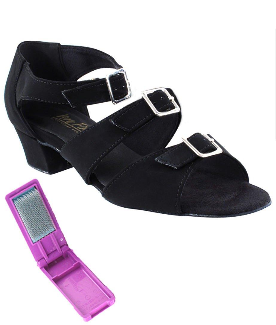 Very Fine Ballroom Latin Tango Salsa Dance Shoes for Women 1679 1.5 inch Heel + Foldable Brush Bundle - Black Nubuck - 8.5