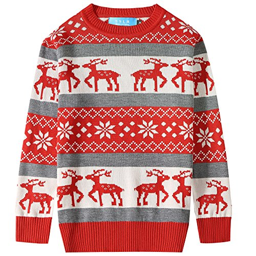 SSLR Big Boys' Xmas Funny Pullover Crewneck Ugly Christmas Sweater (X-Large(18-20), Red Grey)]()