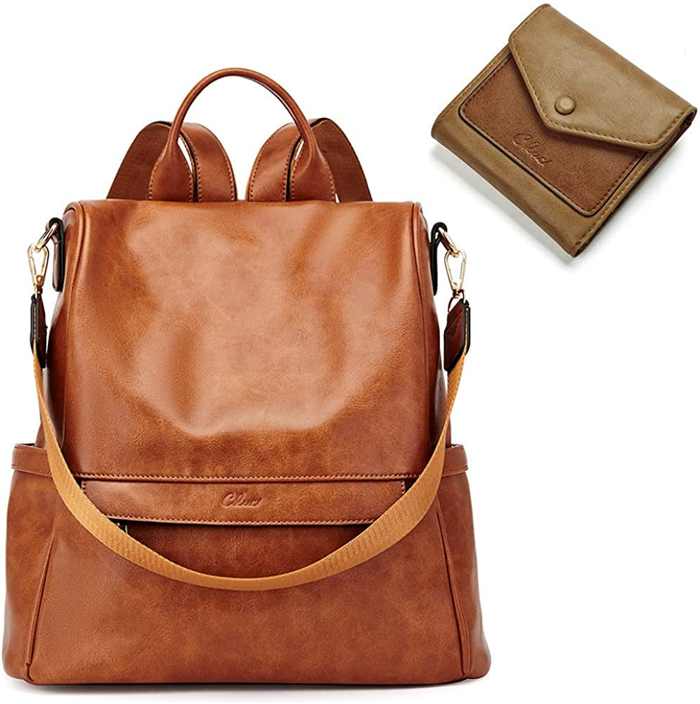 CLUCI Women Backpack Purse Fashion Leather Large Designer Travel Bag Ladies Shoulder Bags and Oil Wax Leather Wallets for Women Small Bifold Ladies Credit Card Holders with Coin Pocket