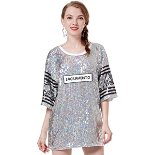 ee565bf01538 Sequin Loose Fit T Shirt Shimmer Top Shirts - Christmas Costume for Women