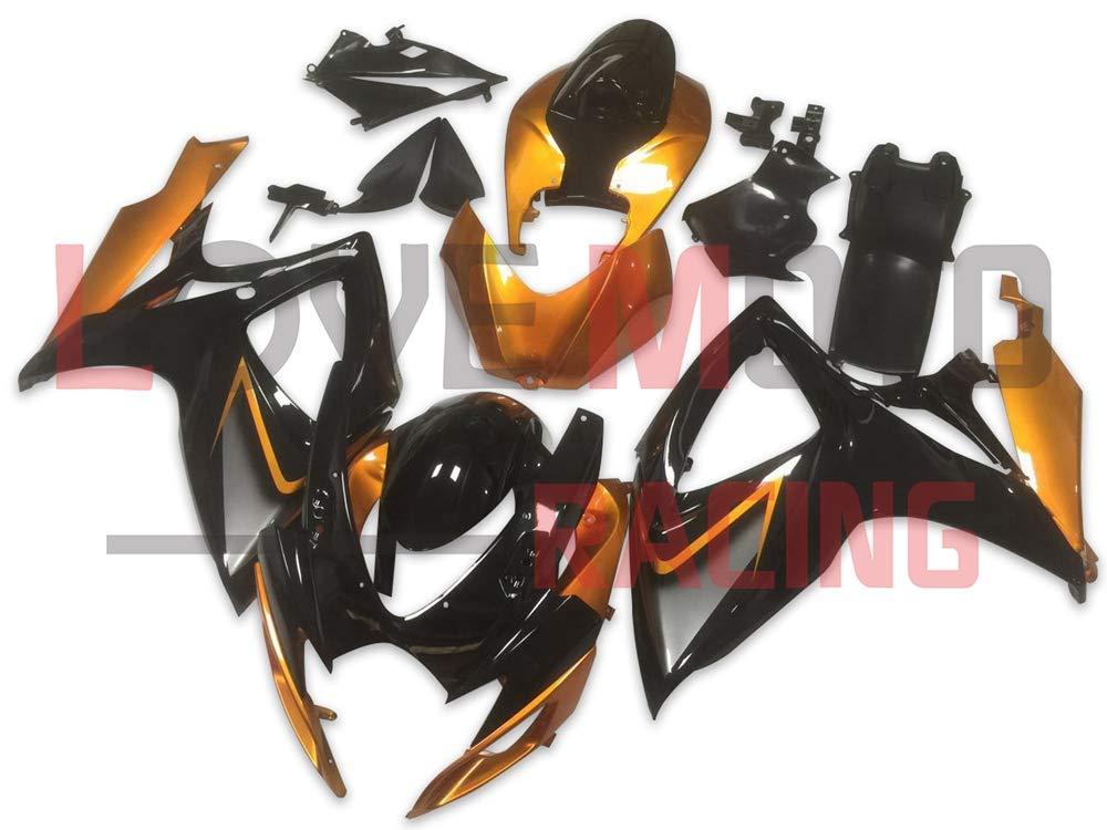 LoveMoto ブルー/イエローフェアリング スズキ suzuki GSX-R600 GSX-R750 K6 2006 2007 06 07 GSXR 600 750 ABS射出成型プラスチックオートバイフェアリングセットのキット ブラック オレンジ   B07KG2L9HL